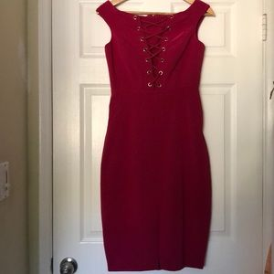Magenta Off Shoulder Tie up Dress